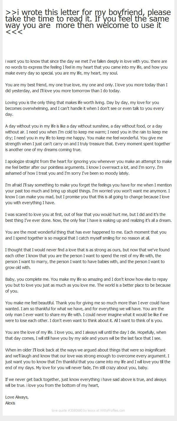 A letter your to boyfriend say in love what to 15 Love