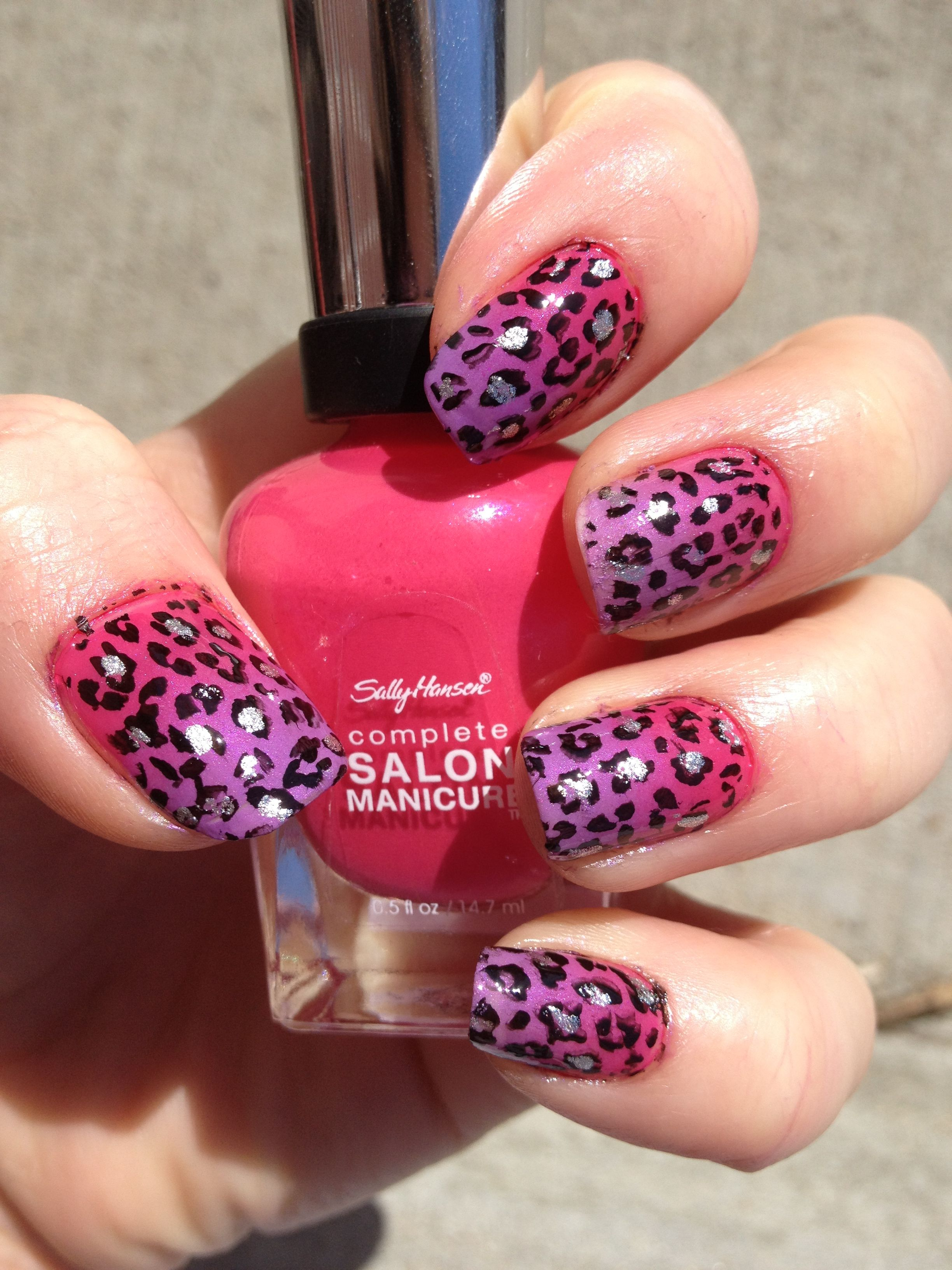Cheetah Nail Designs | Pink and purple gradient cheetah nails | Nail ...