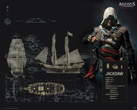 Poster affiche Assassin's Creed Black Flag Jackdaw