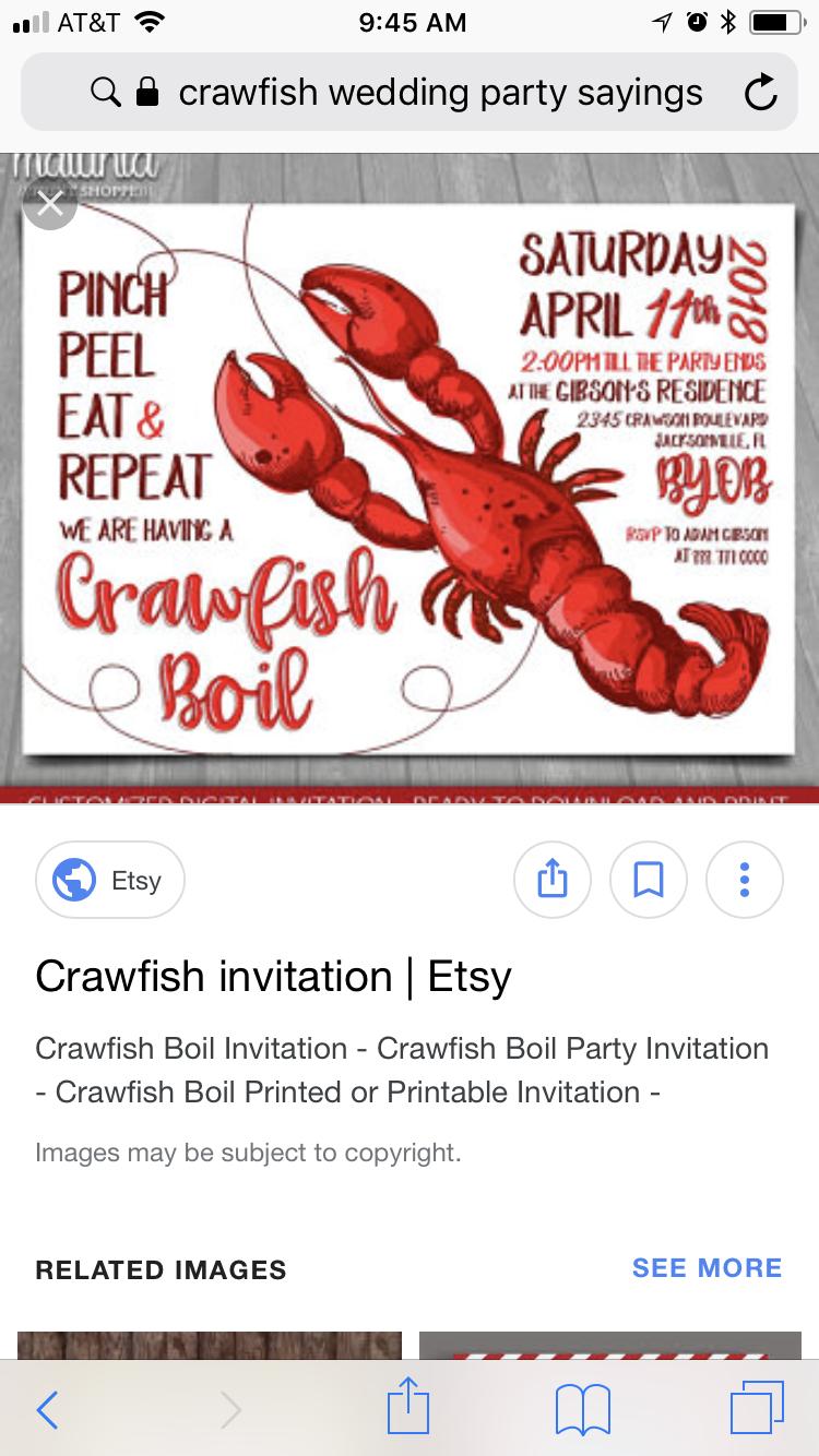 Pin By Kat Caraway On F Kcrawfish Boil Crawfish Invitations Crawfish Boil Invitation Crawfish Boil