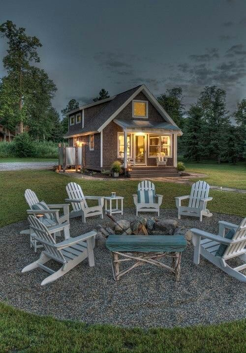 Adirondack Chairs Around Low Fire Pit. Love The Circle Of Gravel