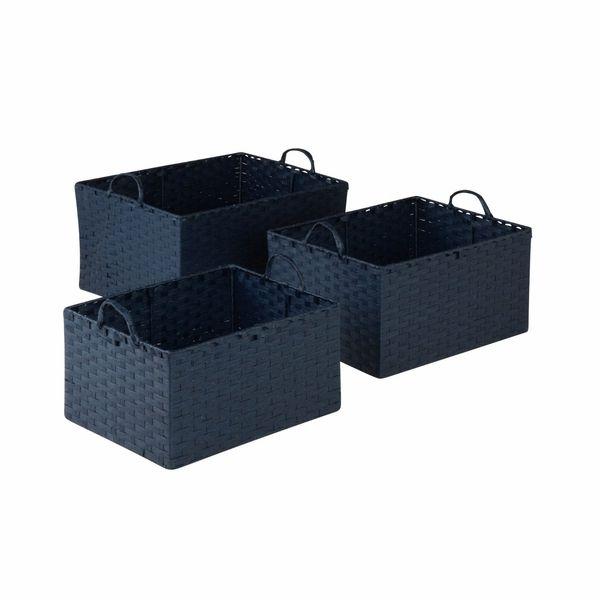 Paper Rope Storage Baskets   Indigo Blue, Set Of 3