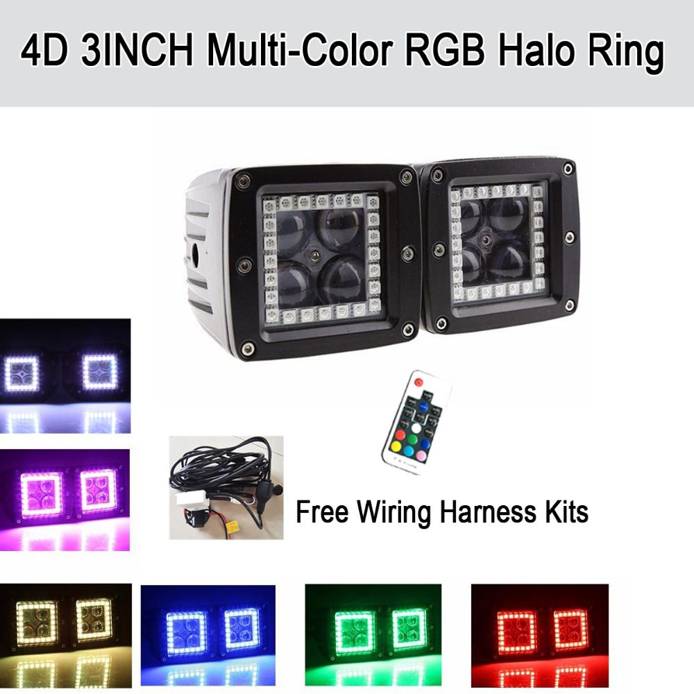 2x 4d 3 Led Work Light Cubes Pods With Rgb Halo Ring Spot Flood Wiring Lights