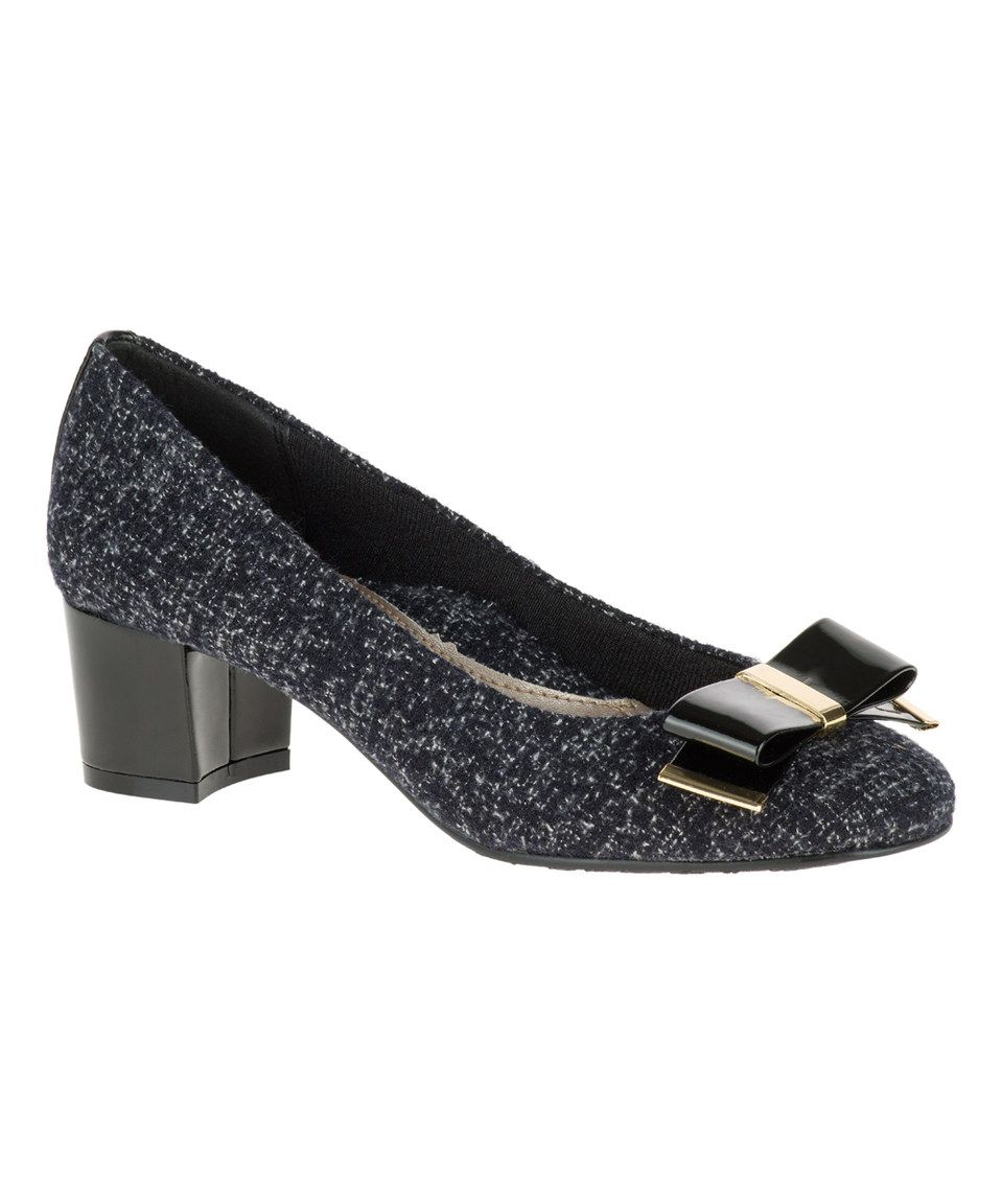 Look at this #zulilyfind! Black Tweed & Patent Tacita Pump by Soft Style by Hush Puppies #zulilyfinds