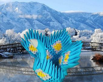 Photo of Artículos similares a Super Spiky Origami Burst – Blue, Fuscia, Lemon & White en Etsy