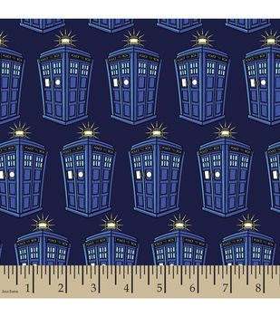 Doctor Who Police Public Call Box Cotton Fabric
