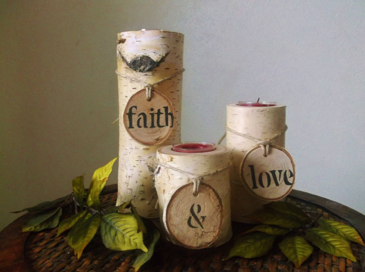 Birch Wood Candle Holder Rustic Decor Rustic Wedding Decoration Home Decor