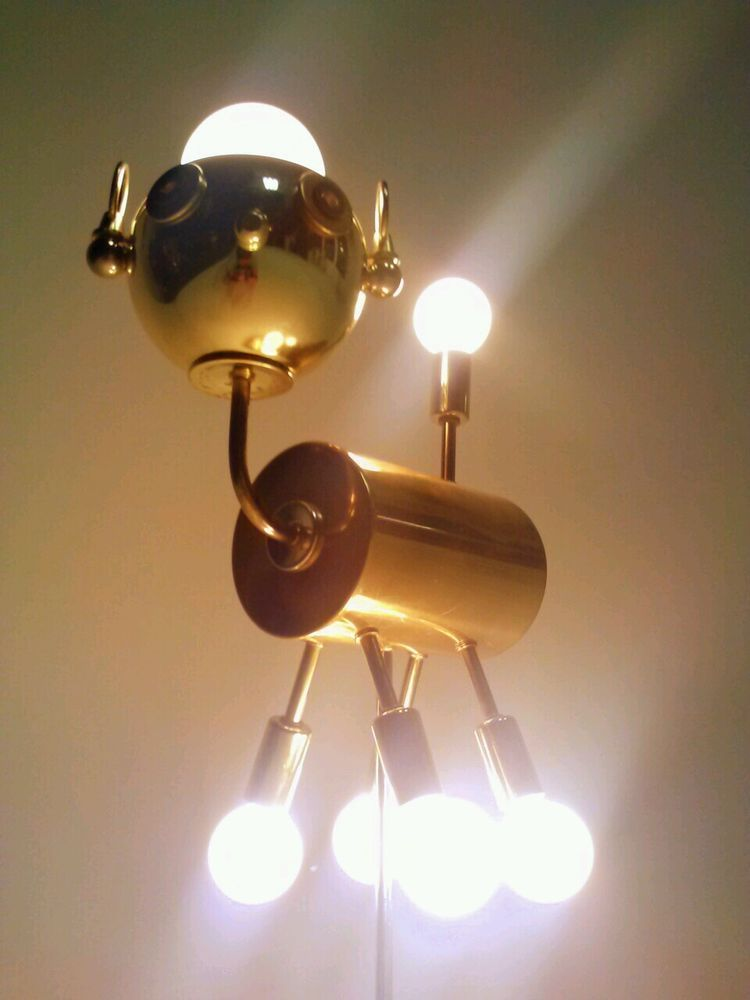 Details About Vintage Dog Puppy Atomic Ufo Lamp Light Fixture Sputnik Eyeball Orb Torino Style Robots Torino