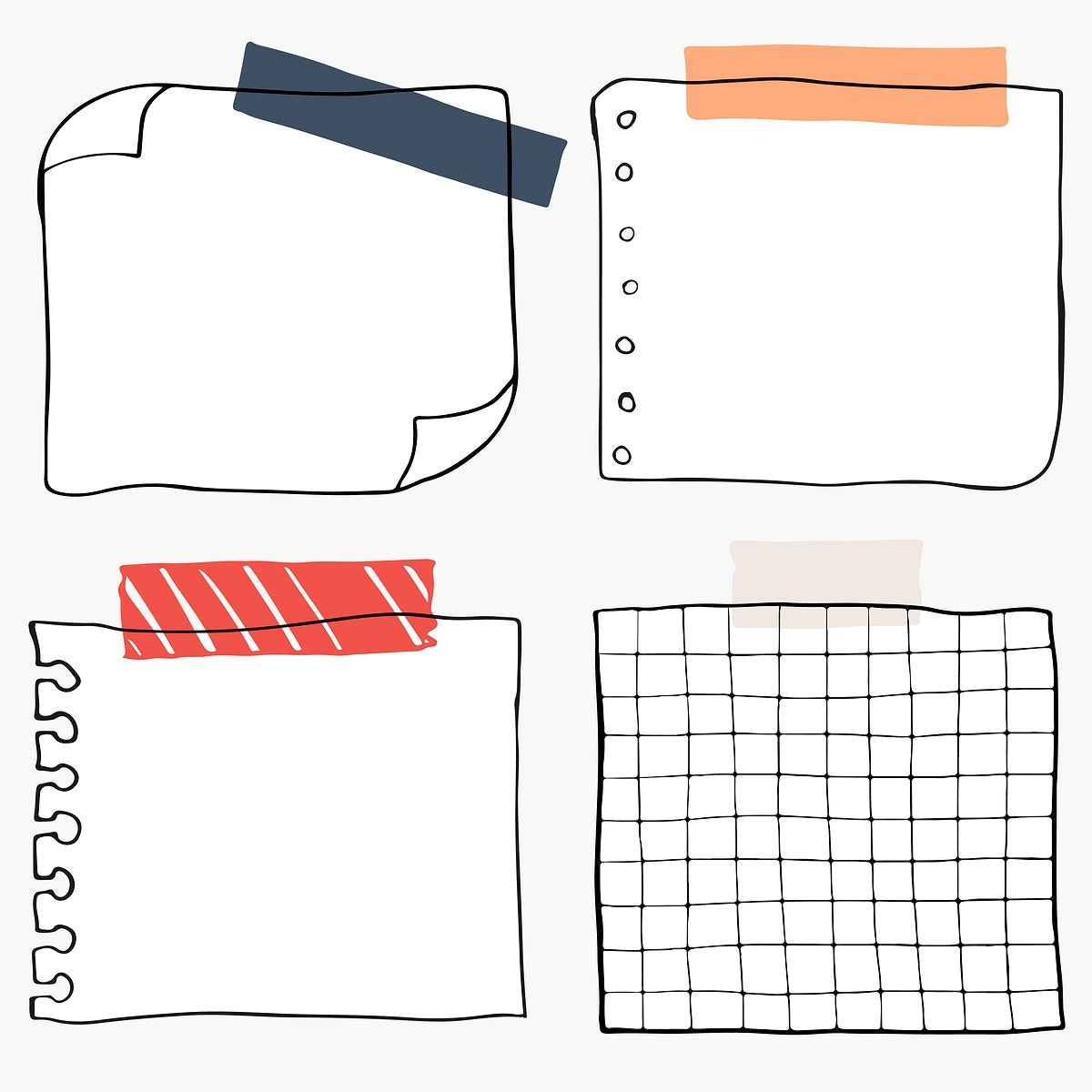 Set Of Blank Paper Notes Transparent Png Premium Image By Rawpixel Com Sasi Note Paper Bullet Journal Stickers Note Doodles