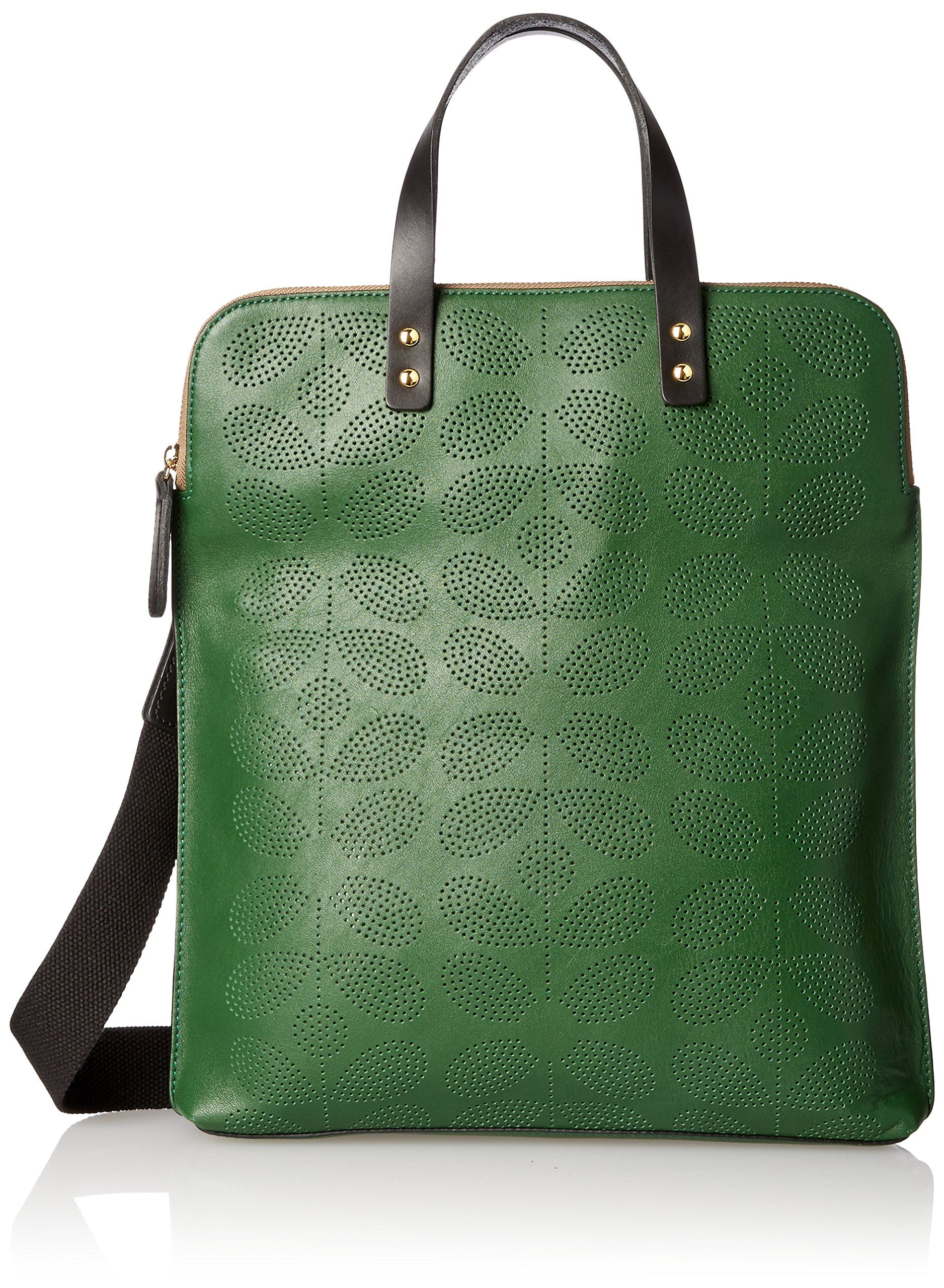 Orla Kiely Sixties Stem Punched Leather Juniper Shoulder Bag Black Clutch One Size Handbags Amazoncom