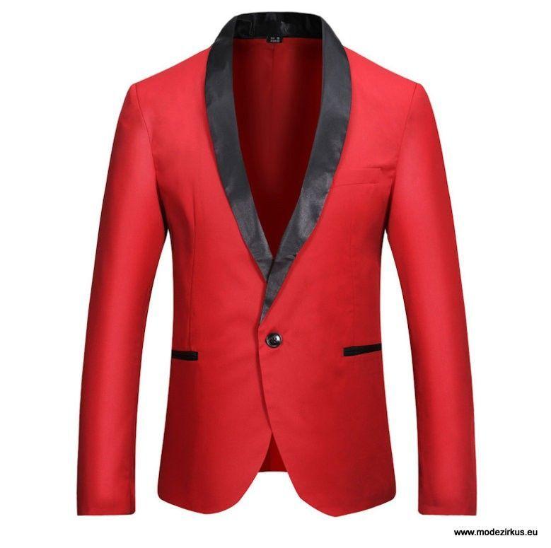 Colorblock Herren Sakko in Rot Schwarz #herrenmode #sakko