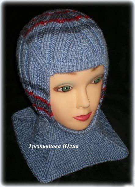 Вязаная шапка-шлем спицами, 26 моделей с описанием и видео ...