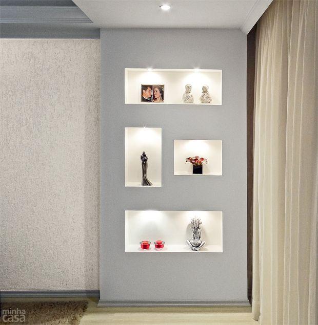 Estante Branca Para Sala De Estar ~ Sala de estar é renovada com estante de drywall  Drywall, Twitter e