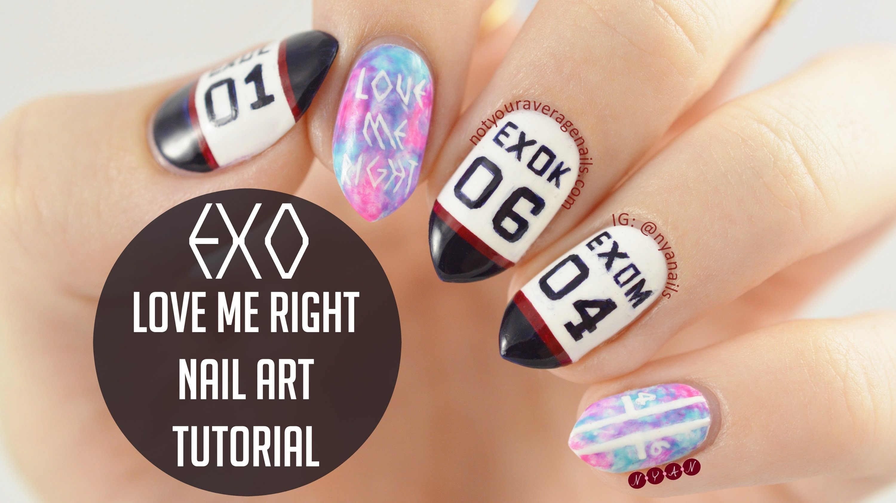 Exo lovemeright nail art tutorial nyan tutorials i put together a little tutorial to show how i painted my exo love me right nail design the tutorial shows how to do both the tie dye nails and prinsesfo Choice Image