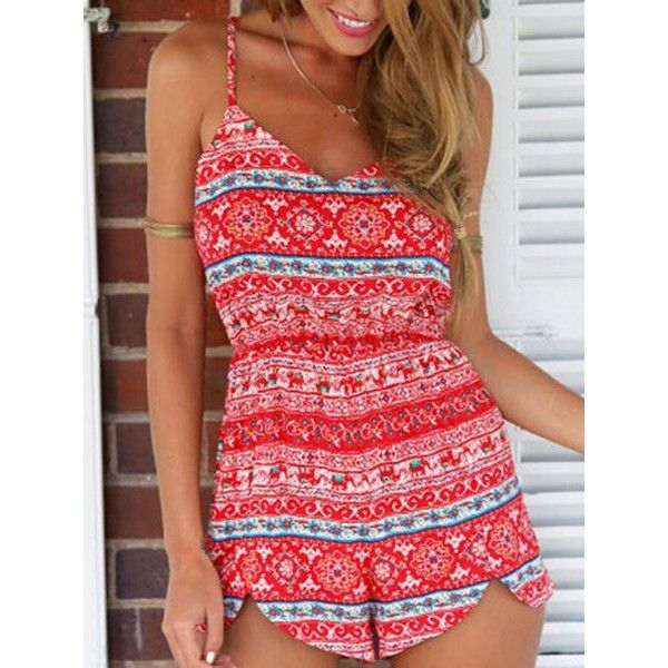 Red Tribe Pattern V-neck Spaghetti Strap Romper Playsuit ($27) ❤ liked on Polyvore featuring jumpsuits, rompers, tribal print romper, spaghetti strap romper, red romper, tribal romper and red rompers