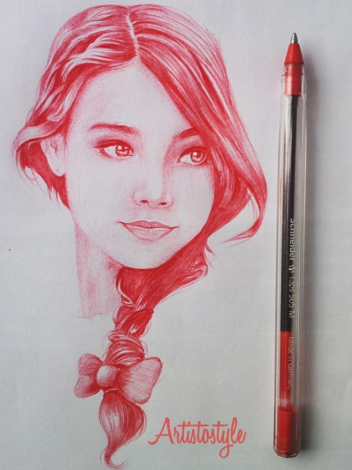 Realistic drawings color red female faces drawing faces woman face amazing