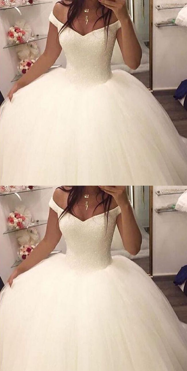 Ball gown offtheshoulder sleeveless sweep train wedding dress with