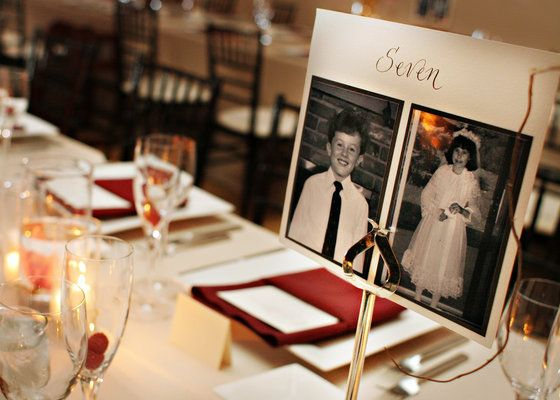 what a cute idea...the table numbers have photos of the bride and groom at that age!