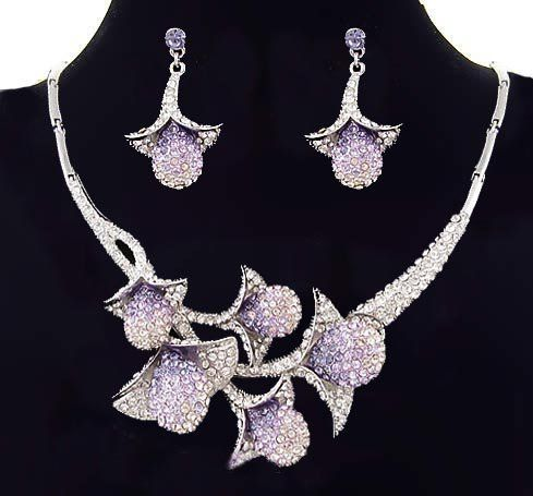 Bridal Jewelry Sets On Set Flower Crystal Necklace Evening Dress Bridemaid