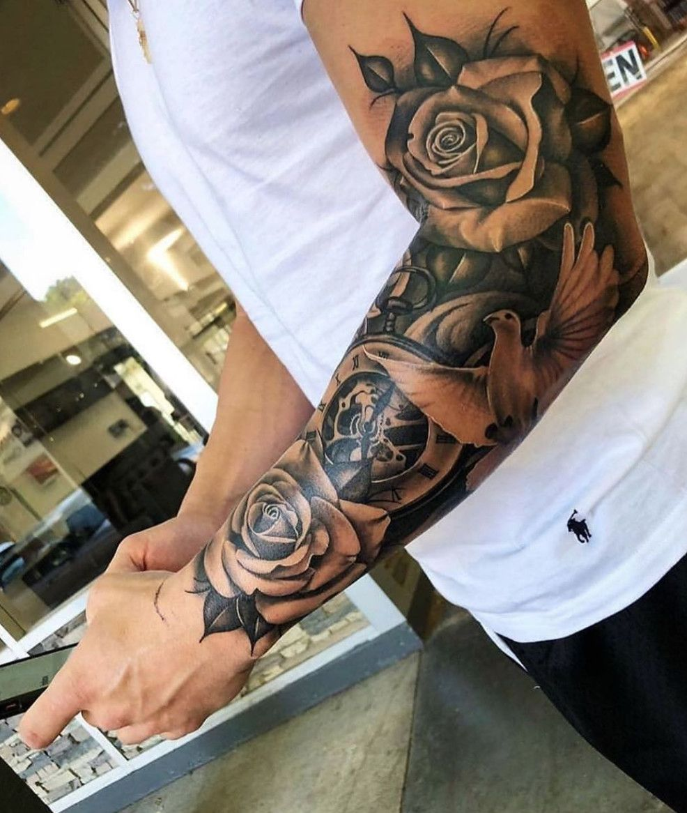 Rose And Dove Tattoo Done By Tattoo Angelo Www Otziapp Com Half Sleeve Tattoos For Guys Sleeve Tattoos Tattoo Sleeve Men