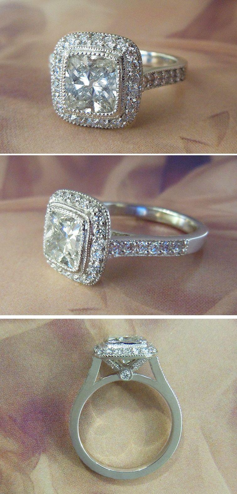 Ring · Platinum 2 Carat Vs2 Cushion Cut Diamond Halo