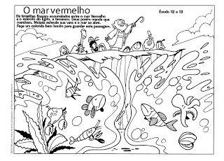 The Red Sea Moses Coloring Page Desenhos Biblicos Para Colorir