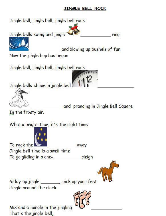 Song Worksheet Jingle Bell Rock With Video Classroom Songs Xmas Songs Lyrics Xmas Songs
