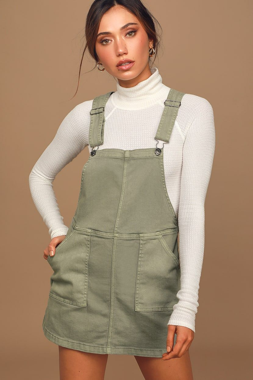 Love That For You Olive Green Denim Utility Overall Dress Overall Dress Denim Overall Dress Women Dress Online [ 1245 x 830 Pixel ]