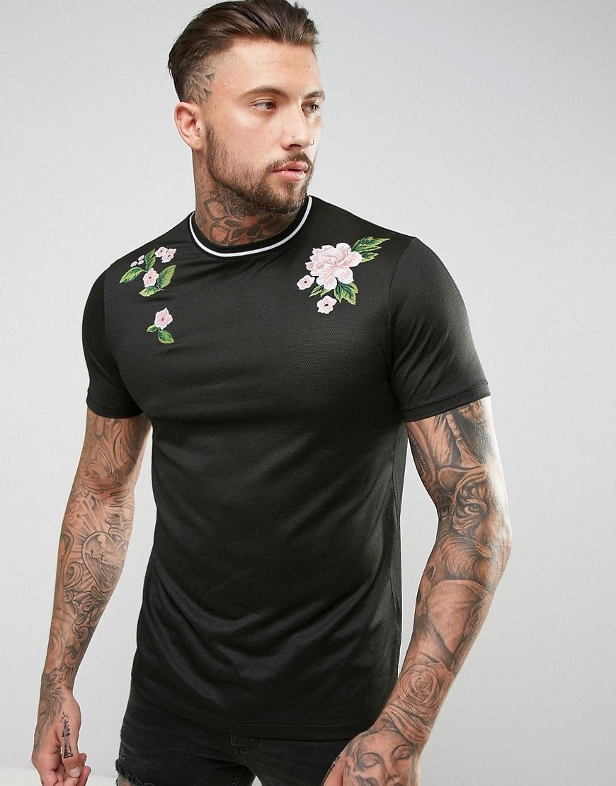 c7fe2052 ASOS Longline T-Shirt In Mesh With Floral Embroidery - Black | sexy ...
