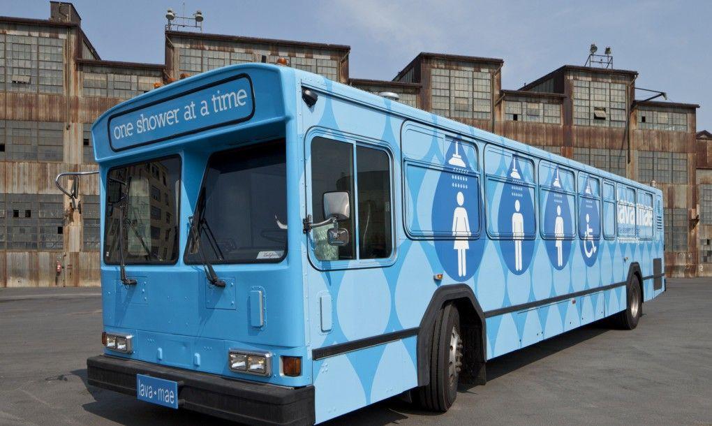 Lava Mae S Big Blue Bus Brings Mobile Showers To San Francisco S Homeless Population Bus Blue Bus Homeless