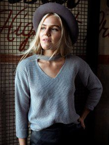 V Neck Ribbed Choker Sweater - GRAY ONE SIZE