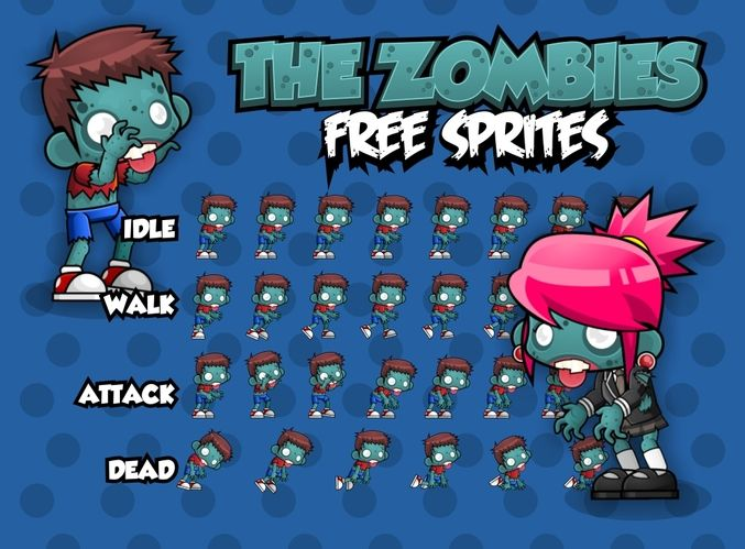 Free 2d Character Sprites With Couple Zombie Characters For Your