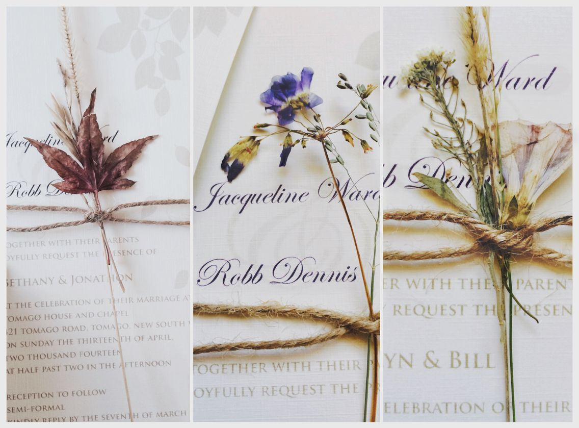 I collected and dried flowers etc for months so every invitation looked different