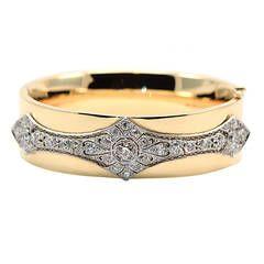 Diamond Gold Platinum Cuff Bracelet