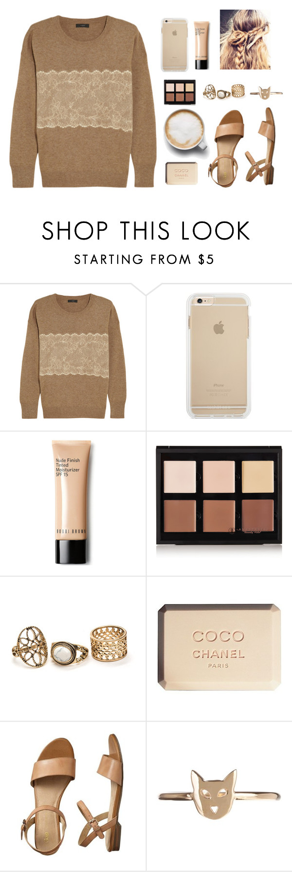 """Untitled #2"" by forevermiya ❤ liked on Polyvore featuring J.Crew, Anastasia Beverly Hills, Chanel, Gap and Karen Walker"
