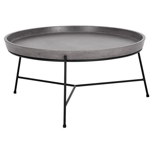 Round Table Loomis.Loomis Industrial Loft Round Concrete Tray Top Black Metal Coffee