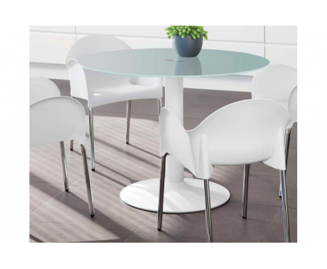 Mesa redonda cristal blanco | Cosas que comprar | Mesas de cocina ...