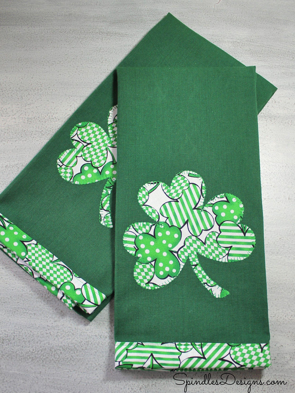 St Patrick S Day Towel Kitchen Towel Appliqued Towel Gift St