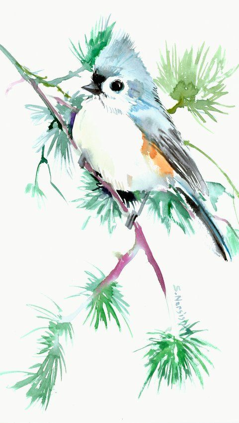 Titmouse 12 X 7 Original Watercolor Painting Asian Art Bird