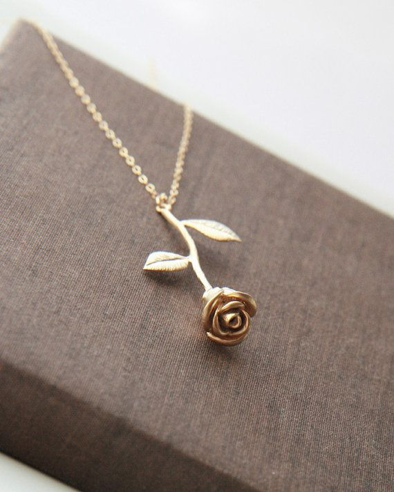 Gold Necklace Rose Necklace Gold Filled Chain by lilabelledesign, $29.00