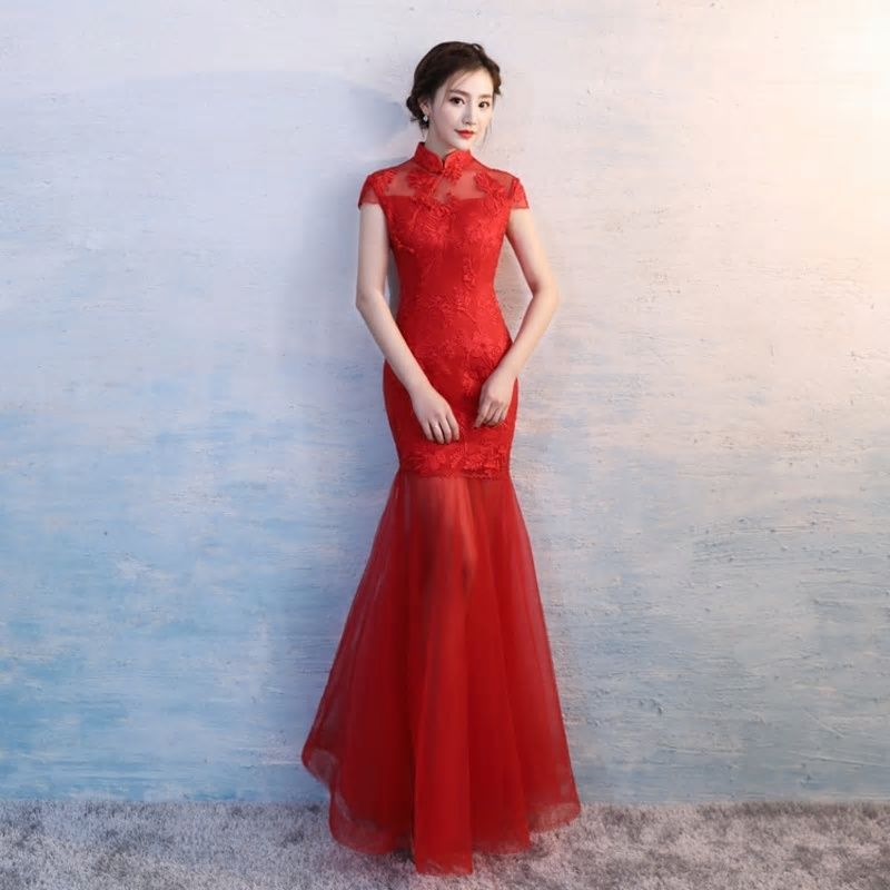 230d193d303f Modern Wedding Dress Cheongsam Sexy Oriental Style Dresses Red Mermaid Qipao  Long Bride Traditional Chinese Clothes Women