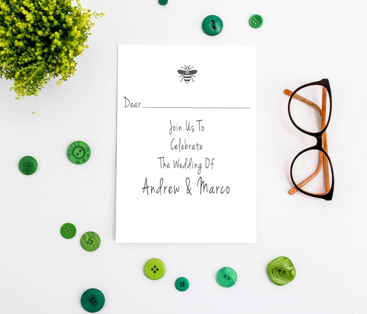 Manchester Bee Flat Wedding Invitation - Printable by ...