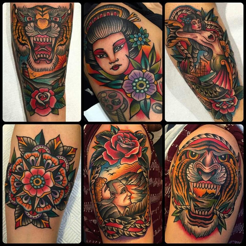 Incredible Sleeve Tattoo: American Traditional Sleeve By Samuel Grenier On American