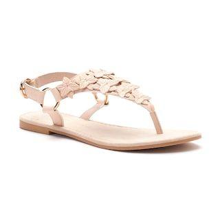 LC Lauren Conrad Women's ... Floral Applique Slingback Thong Sandals dQYqQ