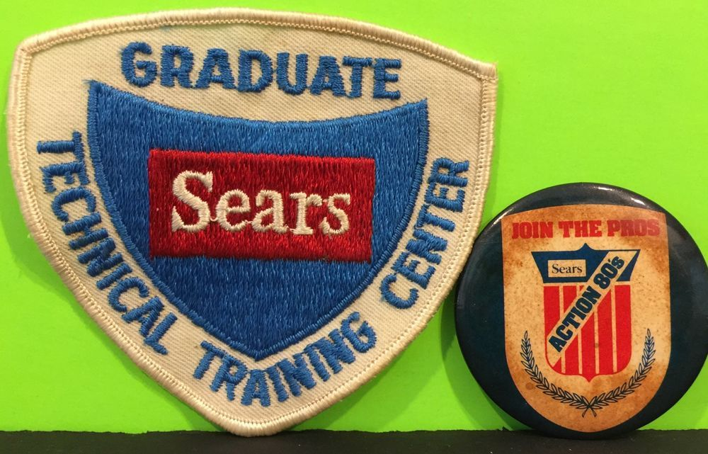 Vintage Sears Technical Training Center Patch Sears Join The Pros Button | eBay