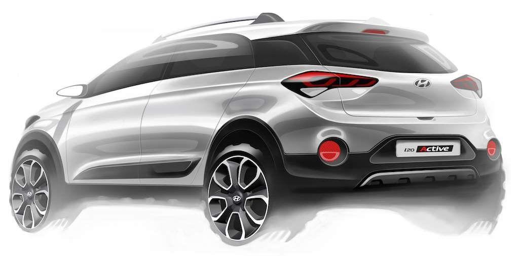 Hyundai I20 Active Crossover Sketched Images Unveiled In 2020 Hyundai New Hyundai Car Design Sketch