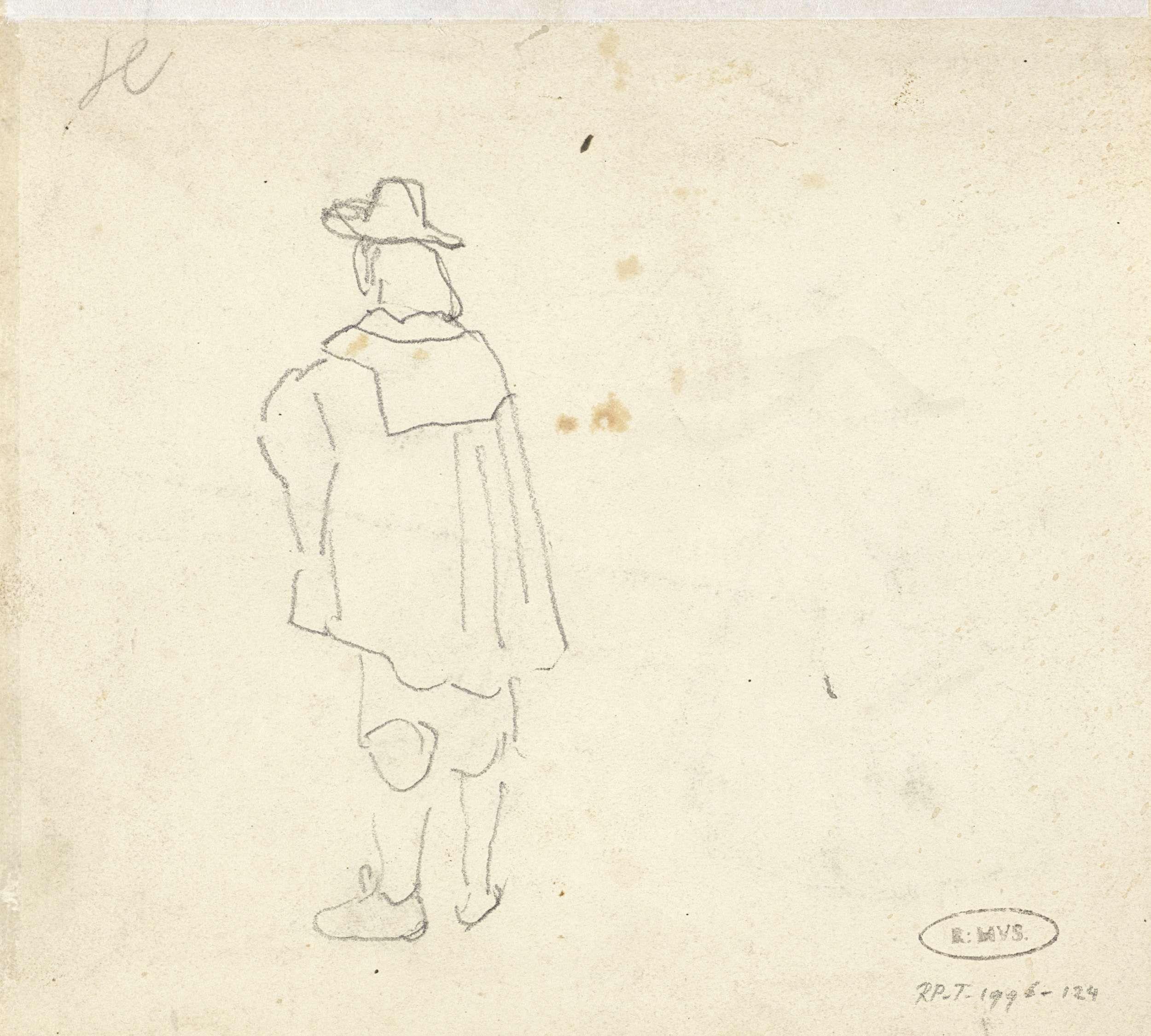 Johannes Bosboom | Studie van een man in zeventiende-eeuwse kleding, Johannes Bosboom, 1827 - 1891 |