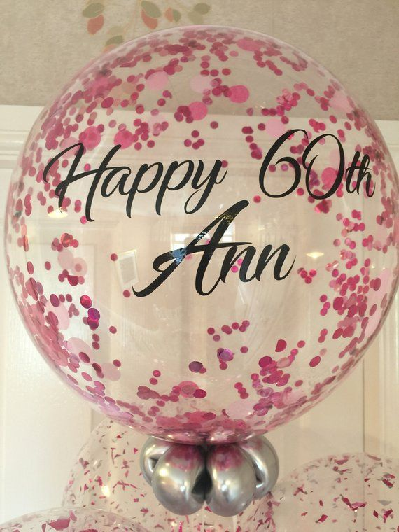 Inflated Personalised Pink Confetti Birthday Balloon 60th In A Box Delivery Bespoke