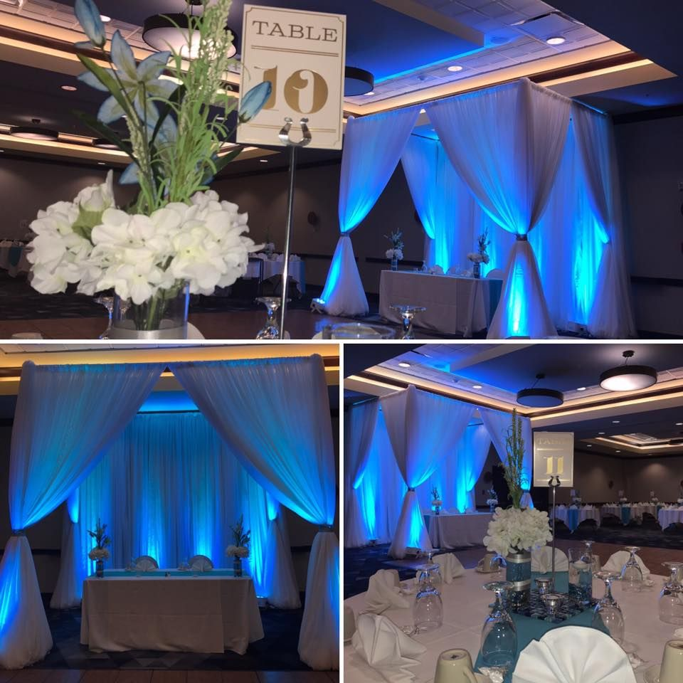 Blue and white wedding decor  Our Draped  Post Canopy with Blue Lighting is all set for this