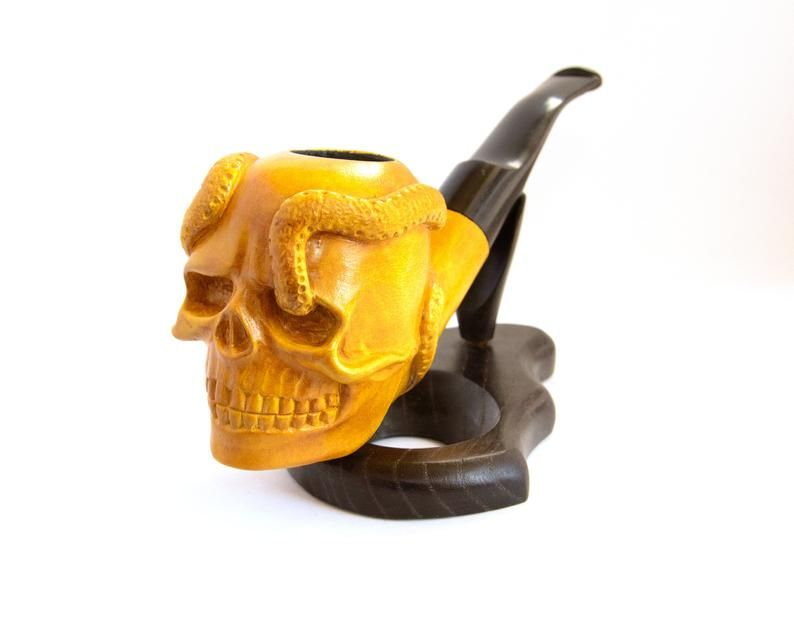 95$ Tobacco pipe Skull with snake Pirate Jolly Roger #woodcarvingtoo
